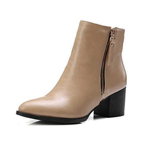 BalaMasa Womens Zipper Chunky Heels Mule Imitated Leather Boots Brown dChZpd