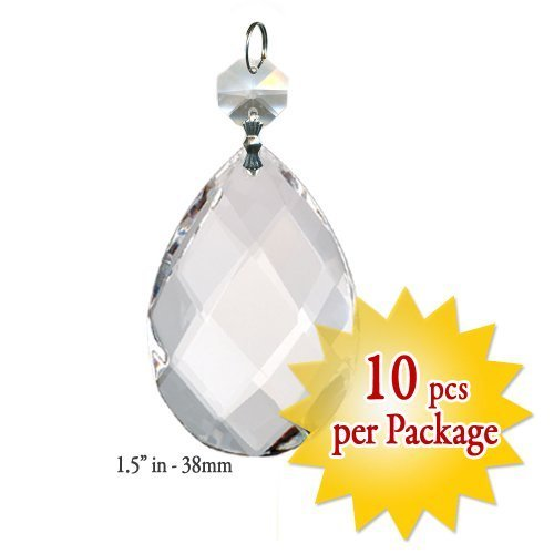 Asfour Crystal Set of 10 Almond Cut 30% Lead Crystal Faceted 38mm - 1.5'' Inch Prism with Octagon Beads