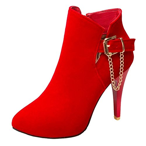 Available Suede Ankle Red Sexy and With Boots Heel Smilice Size Thin Women Materail Large Boots With T0Ww6q