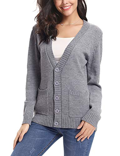 Abollria Women Cardigans Open Front Button Down Chunky Cable Knit Cardigan Sweaters Coat Pockets