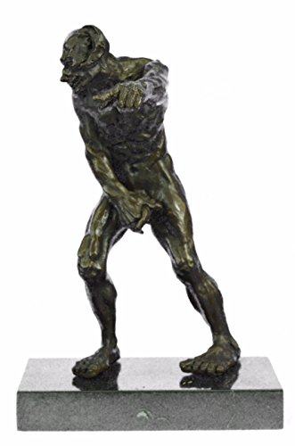 Handmade European Bronze Sculpture Devil Holding His Phallus Limited Edition Marble Base Figurine Bronze Statue -XNCH-636-Decor Collectible Gift