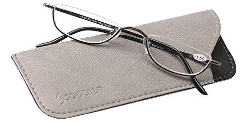 SOOLALA Vintage Designer Alloy Flat Top Half Frame Stylish Slim Reading Glasses, Gun, - Quality Glasses Reading Online