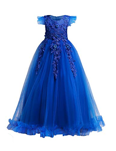 YaYa Bay Fancy Dresses for Girls, Wedding Dress Cap Sleeve Sash Belt Bowtie Zipper Back A Line Flowy Prom Ball Gown Lace Flower Long O Neck Cotthon Lining for Tea Party Dance Bule Size(120) 3-4 Years -