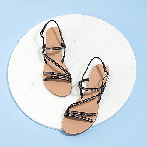 Tacchi DHG con moda casual da estivi alla a basso 34 donna basso Nero Sandali tacco piatti Pantofole tacco alti Sandali Sandali PzTWTrFY