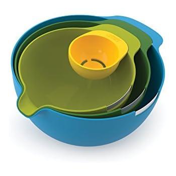 Joseph Joseph 40015 Nest Mix Compact Nesting Mixing Bowl Set Egg Separator Cracker Pouring Spout Food Prep Plastic Dishwasher Safe Non-Slip Base, 4-Piece, Multicolored
