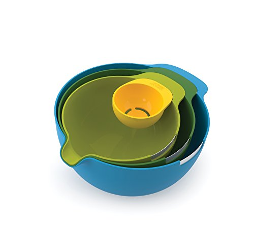 Joseph Joseph 40015 Nest Mix Compact Nesting Mixing Bowl Set Egg Separator Cracker Pouring Spout Food Prep Plastic Dishwasher Safe Non-Slip Base, 4-Piece, Multicolored