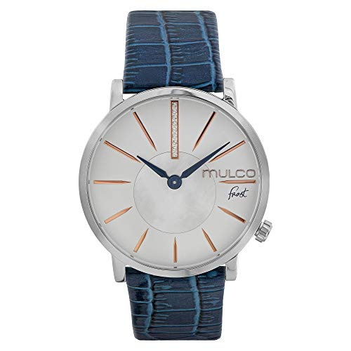 Mulco Ladies Frost Slim Elegant Minimalist Womens Watch, 42mm Silver Stainless Steel Case, Dial with Mother of Pearl and Stones Accent and Genuine Italian Leather Band (Blue)