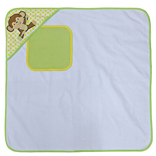 Neat Solutions Happy Monkey Single Applique/Print Woven Terry Hooded Towel and Washcloth Set, (Happy Monkey)