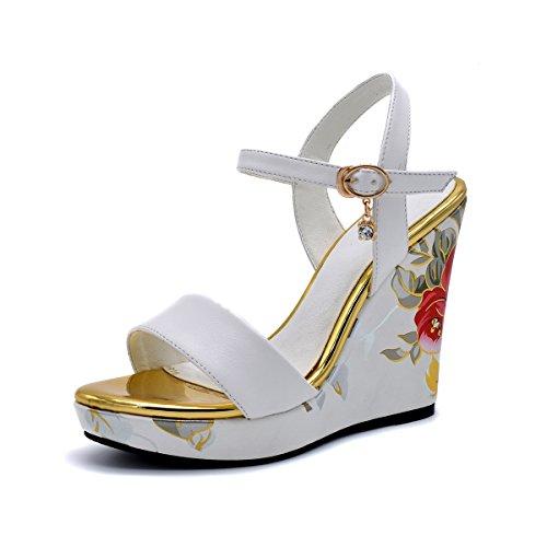 sunshinemall Women's Open Toe Wedge Platform Sandal Satin Floral Print High Heel Dress Sandals with Quarter Strap,White/Size 6