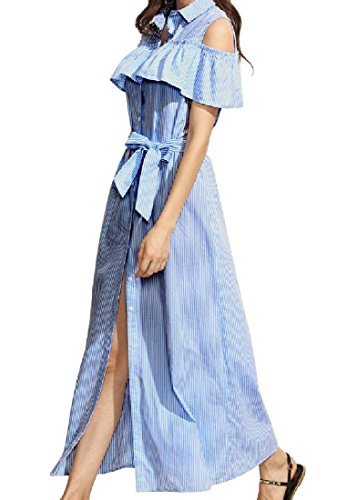 Cold Breasted Flounced Shoulder Stripes Elegant Light Career Women Coolred Printed Single Blue Dresses qxE5tZX4w