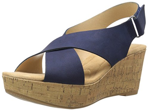 Blue Wedge Shoes - CL by Chinese Laundry Women's Dream Girl Wedge Pump Sandal, Navy Nubuck, 8 M US