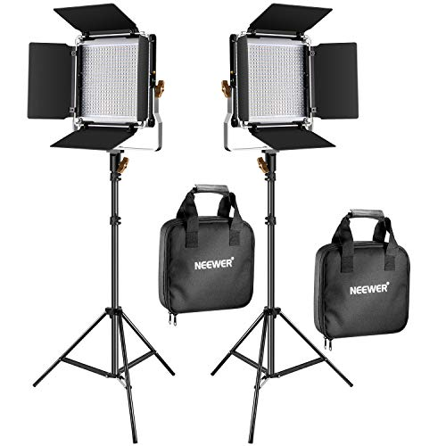(Neewer 2 Packs Upgraded 480 LED Video Light and Stand Photography Lighting Kit: Bi-Color Dimmable LED Panel with Barn Door and 200cm Heavy Duty Light Stand for Studio Portrait Product Video Shooting)