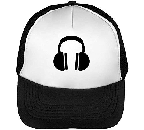 Headphones Earphones Gorras Hombre Snapback Beisbol Negro Blanco