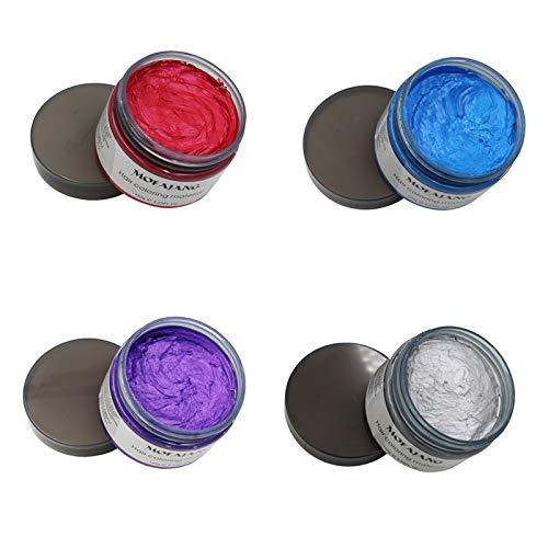 MOFAJANG 4 Colors Temporary Hair Wax, Grey Purple...