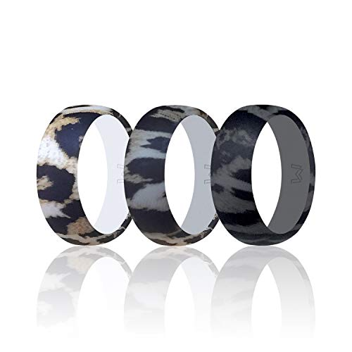 - WIGERLON Mens Silicone Wedding Ring &Rubber Wedding Bands Width 8mm Color Leopard Print Size 9