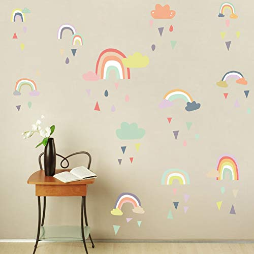 Colorful Rain Rainbows Wall Decal, Raindrop Wall Sticker, Rainbow Wall Sticker for Kids Room Decor, DIY Mural Art Home Decoration ()