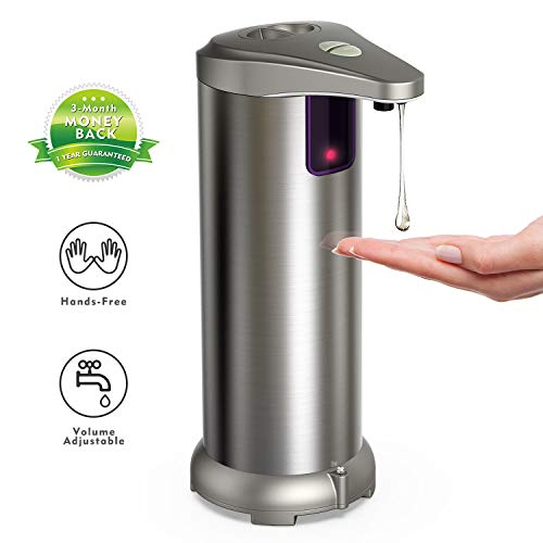 YUJIA Automatic Soap Dispenser Equipped Stainless Steel, Infrared Motion Sensor, Waterproof Base, Adjustable Switches, Suitable Bathroom Kitchen Hotel Restaurant