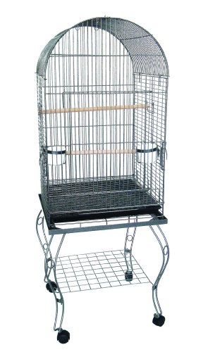 YML 20-Inch Dometop Parrot Cage with Stand, Antique Silver