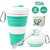 Portable Collapsible Coffee Cup, Lightweight and Reusable Folding Travel Mug Cup, Food Grade Silicone Sport Water Bottle with Leak Proof Lid for Outdoor Camping Hiking & Office Home Use -Plus Folding Spoon (19oz)