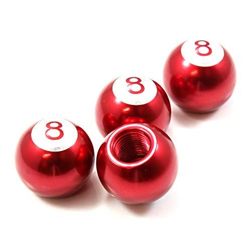 EveryPossible 4 Red Aluminum Metal Pool 8 Ball Wheel/Tire Valve Stem Car-Truck Air Caps