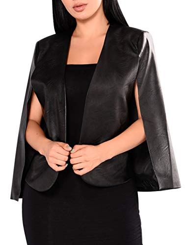 Women's Long PU Leather Sleeve Cloak Capes Jacket XL Open Front Leather Slit Blazer Cape Coat Plus Size(15347BL-L) ()