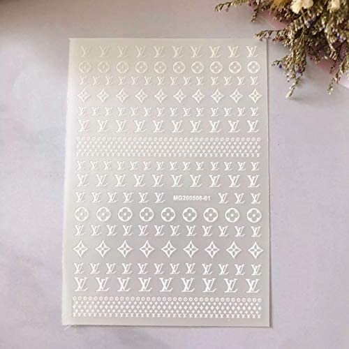 Nail Designer Luxury Nail Stickers Logo Nail Art Decals Nail Art Adhesive Sticker (2 Sheets)