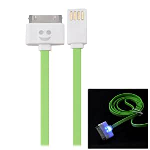 Ebest-2 Pieces 3.3ft USB Data Sync & Charge Flat Cable for Apple iPhone 4 4S 3G 3GS, iPad, iPod Touch, Samsung P1000, Flashing Smiling Face Pattern, Color: Green