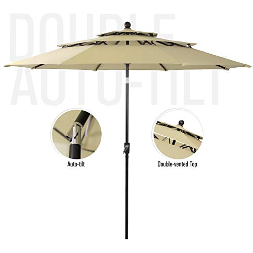 PHI VILLA 10ft 3 Tier Auto-tilt Patio Umbrella Outdoor Double Vented Umbrella, Beige (An Is Umbrella Offset What)
