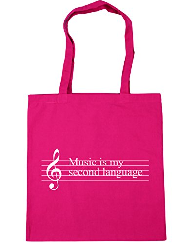 HippoWarehouse música es mi segunda lengua Tote Compras Bolsa de playa 42cm x38cm, 10litros, natural (beige) - 21403-TOTE-Natural fucsia