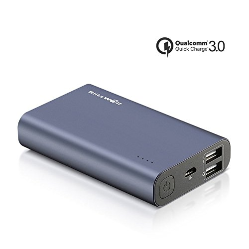 Quick Charge Power Bank, BlitzWolf QC3.0 Portable Charger 10000mAh Dual USB Compact Qualcomm Quick Charge External Battery Pack Support QC2.0 with Apple Fast Charge Tech for Samsung Galaxy S7 Edge, LG G5, HTC 10, SONY, Nexus and More