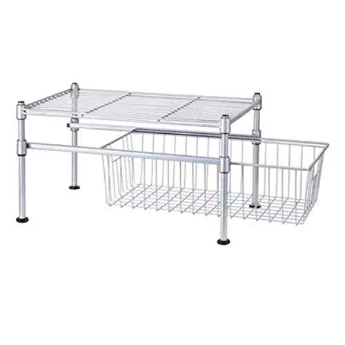 Household products Cocina de Almacenamiento de Rack apilable 2 Niveles bajo Fregadero gabinete Deslizante Cesta Organizador...