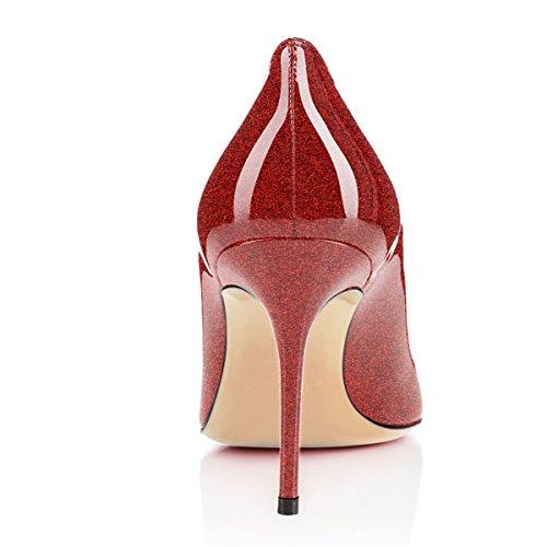 Pompe Vestito Alto Matrimonio Eldof Per Donne Glitter Ufficio Tacco Rosso Comodità Il Patry Delle Centimetri 8 vc0wrXx0q