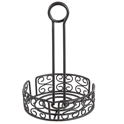 TableTop King Black Round Mediterranean Wrought Iron Condiment Caddy with Card Holder - 6