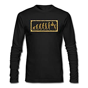 Gold Evolution Tattoo Machine Men Long Sleeve Round Neck Cotton T-Shirt Top Christmas Gift L