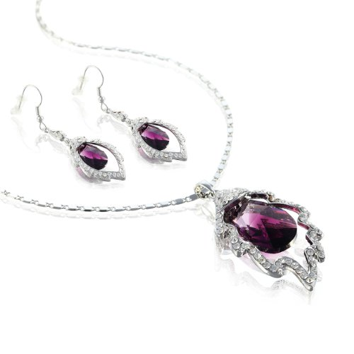 Contemporary Swarovski Elements Crystal Pendant Necklace & Earrings Set - Amethyst/Silver, Janeo (Halloween Costumes With Next Day Delivery)