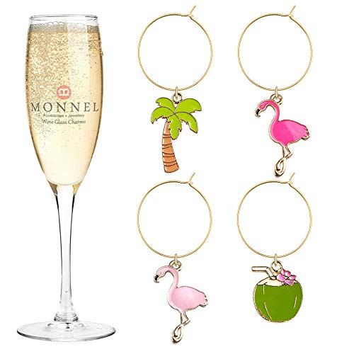 Ostrich Bird Charm - P423 Brand New Ostrich Bird Coconut Milk Coconut Tree Wine Charms Glass Marker for Party with Velvet Bag- Set of 4