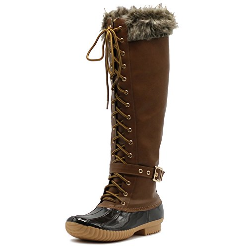 Ollio Tan Fur Women's Faux Knee Up Lace Shoe Buckled Duck High Boots PR4Pw
