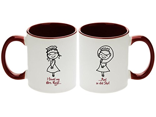 Lesbian Wedding Gift - I found My Mrs. Right. And so did She Coffee Mugs with Optional Personalization! (2pcs) (Personalize Them!)