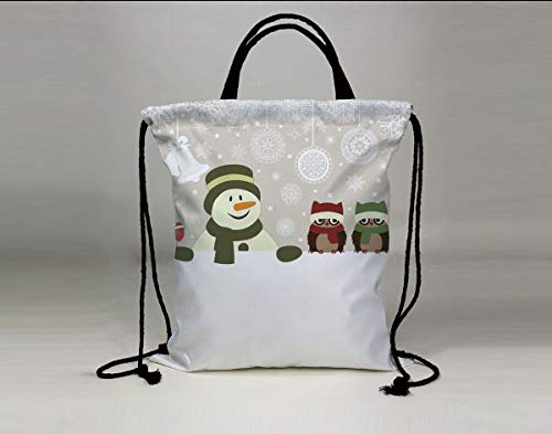 3D Print Drawstring Bag String Backpack,Christmas,Snowman and Owls in Snowy Winter Day with Jingle Bells and Snowflake Figures Image,Multi,for Travel Gym School Beach ()