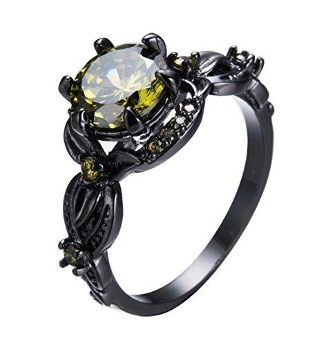 F&F jewel Romantic Flower Shape Peridot Zircon Ring Black Gold Filled Jewelry Ring For Women Wedding Rings (Flower Emblem Dresser)