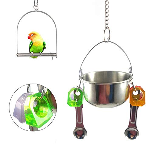 Gotit Store Squirrel Feeders Parrot Squirrel Bird Feeder Food Container Stainless Steel Food Cup Stand