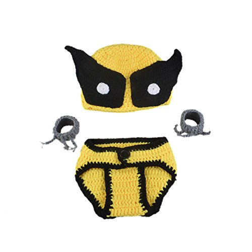 [Ishowstore Newborn Baby Unisex Girl/Boy Crochet Knit Costume Hats Outfits Photography Prop Little Bee] (Baby Wolverine Costume)