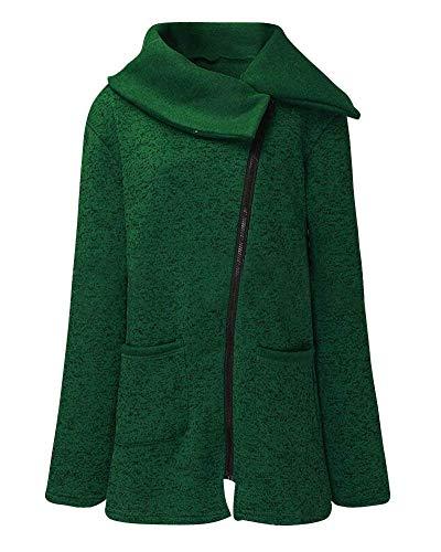 Clásico Vintage Elegantes Cremallera Sólido Camisas Outerwear Primavera Largo Abrigo Casuales Otoño Verde Color Moda Con Mujeres Manga Mujer Chaqueta 4qwOx0tfnZ