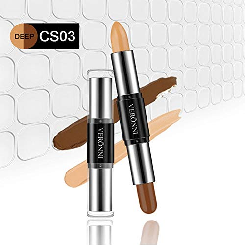 Double-Ended 2 In1 Contour Stick Contouring Highlighter Bronzer Create 3D Face Makeup Concealer Full Cover Blemish 3 (Cover Concealer Stick Maybelline Ivory)