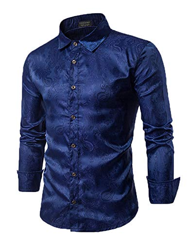 COOFANDY Men's Long Sleeve Satin Luxury Printed Silk Dress Shirt Dance Prom Party Button Down Shirts(Navy Blue,M)