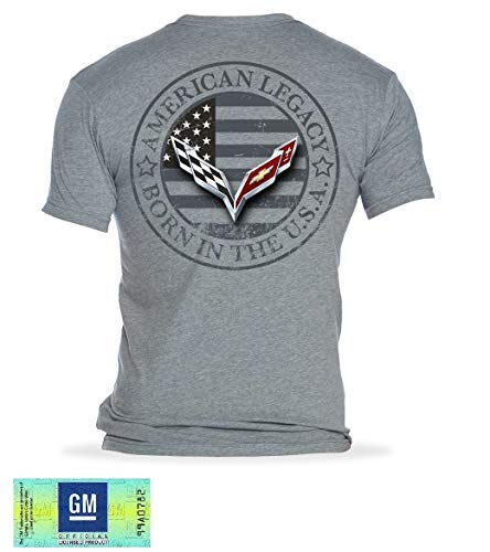 C7 Corvette Born in The USA American Legacy Men's T-Shirt/Heather Gray (Medium)