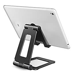 Tablet Stand Adjustable iPhone Cell Phone Stand Dual Foldable Multi Angle Stand  (4-13 Inch) (Space Gray)