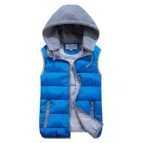 Femme Sans Manche Capuche Veste - Slim Zip Couleur Gilets Doudoune avec Capuche Amovible Hiver Manteau Coton Gilet Veste Taille M-4XL hibote Bleu