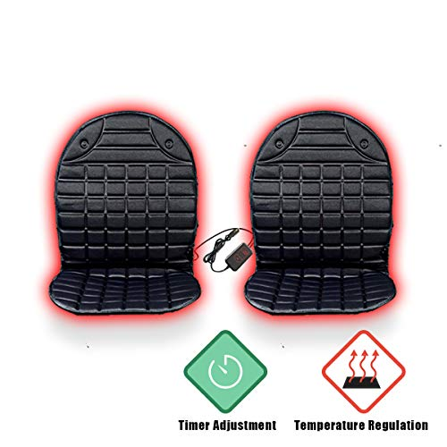 VaygWay 12V Heated Car Seat Cushion- 2pk with 1 Integrated Plug- Car Auto Seat Heater Warmer-Temperature Control with Timer Adjustment- Fireproof Anti-Flammable Extremely Safe