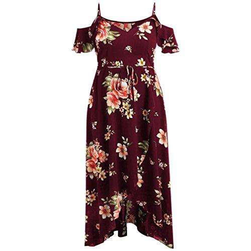 Women Long Dress Plus Size Short Sleeve Boho Flower Print Dress ()